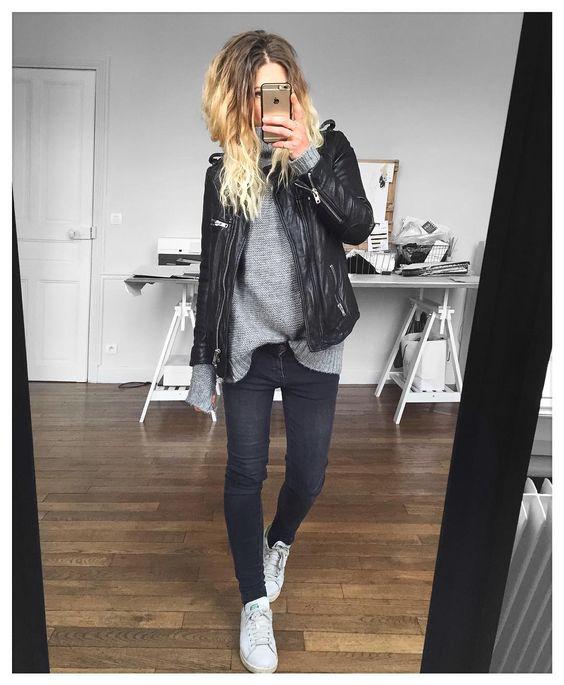 black, grey, leather, stan smith