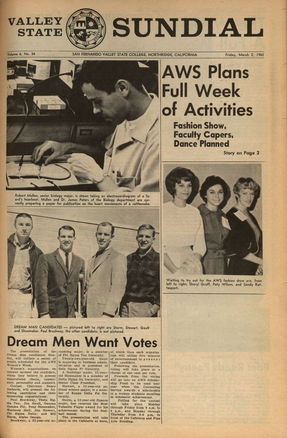 """Front page of the Sundial (vol.6, no. 34), campus newspaper of San Fernando Valley State College (now CSUN). The Associated Women Student (AWS) Women's Week included events such as a fashion show, """"faculty capers,"""" a dance, and a """"dream-man"""" competition. Also on the front page of this issue, Biology major Robert Mullen works on an experiment, taking an electrocardiogram of a lizard's heartbeat. CSUN University Archives."""