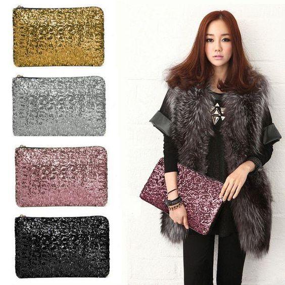 Fashion Womens Clutch Evening Bag Dazzling Sequins Glitter Sparkling Handbag
