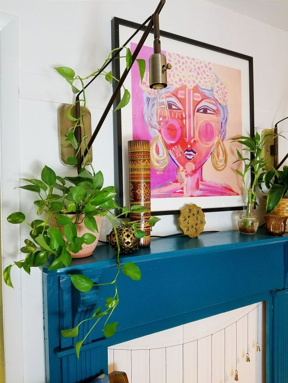 Plant filled, second hand scores boho eclectic mantle decorating