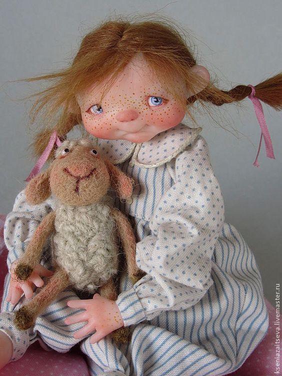 """Купить """"Сонька"""" - авторская кукла, коллекционная кукла, куклы ксении зайцевой, девочка, малышка, косички"""