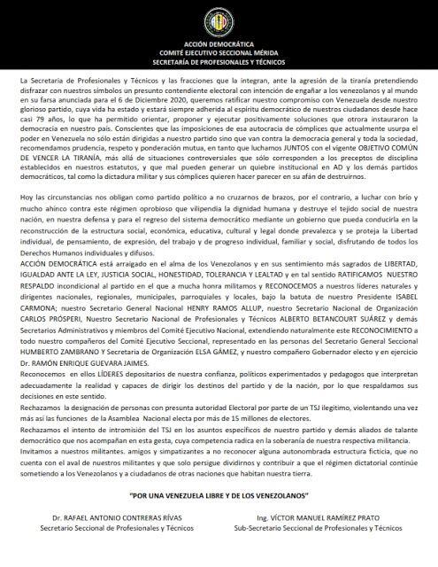 Ad Gremial La Secretaría Seccional Del Profesionales Y Técnicos De Acción Democrática Seccional Mérida Y Las Fr Estado Democratico Acción Democrática Merida