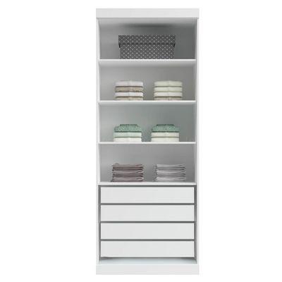 Guarda-Roupa Modulado Closet Sem Portas 6021C Classic em MDF com 4 Gavetas e 3 Prateleiras Branco - Incolar