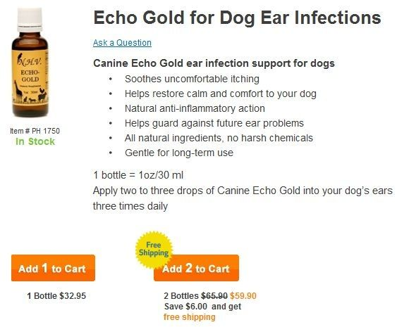 Echo Gold herbal dog remedy for ear infections