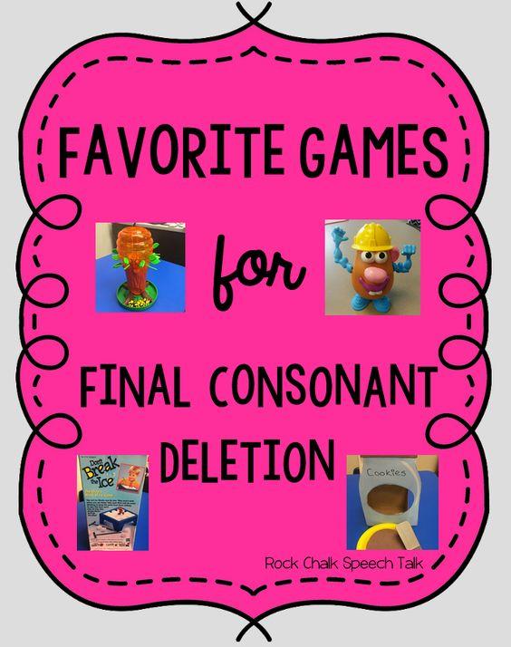 Rock Chalk Speech Talk: Favorite Games for Final Consonant Deletion