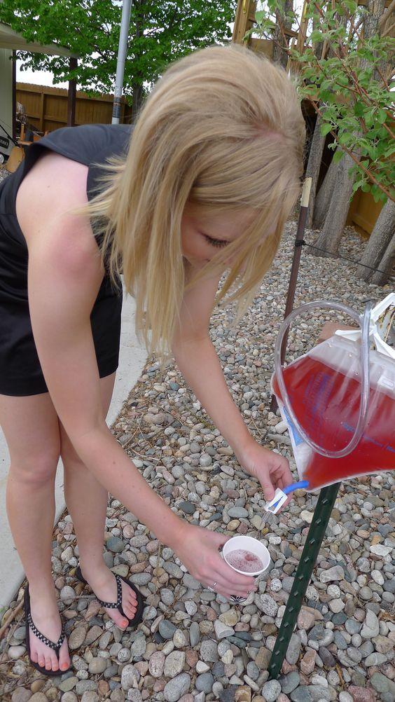 Nursing School Graduation Party Idea. Dispense wine from a foley catheter bag.