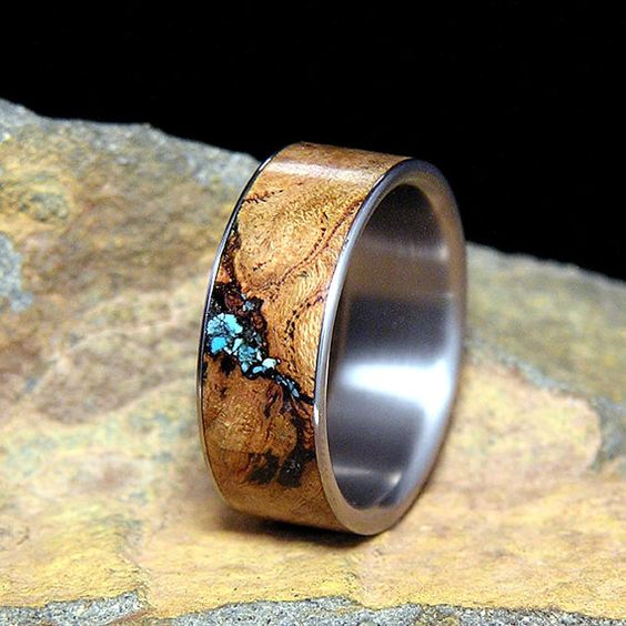 Titanium Wedding Band or Ring Select Wood Black Cherry Burl Turquoise Inlay