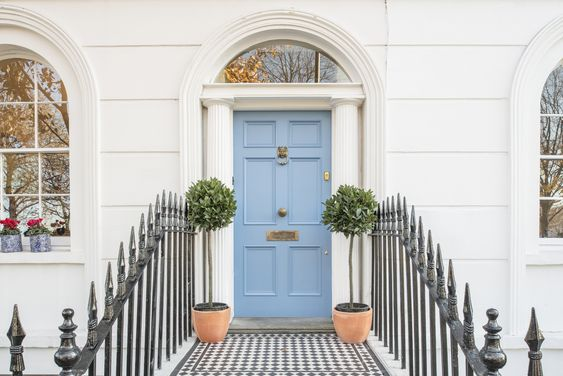 Georgian six panel front door in Farrow & Ball Cook's blue: