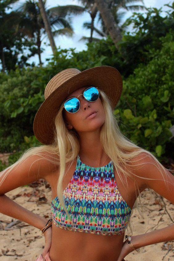 Kipu shot high neck bikini top – Beso de Sal: