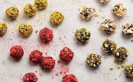Pistachio Strawberry Popcorn Coconut Truffles  / Photo by Chelsea Kyle, food styling by Diana Yen