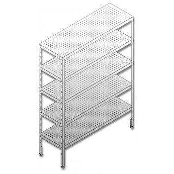 Parry W1200 D600 H1800 Stainless Steel Storage Racks with 5 x Perforated Shelves