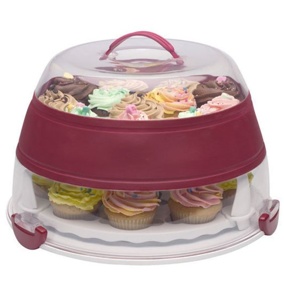Collapsible Cupcake And Cake Carrier.