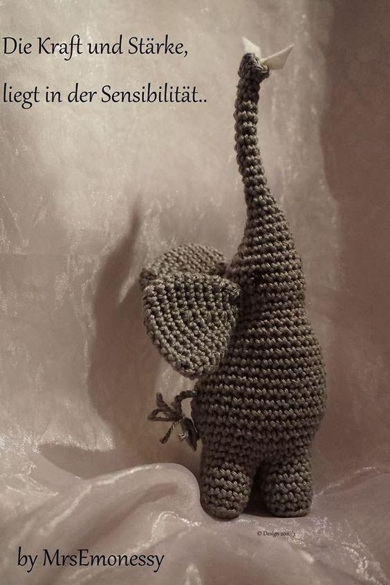 Die Kraft und die Stärke, liegt in der Sensibilität ........ kleiner Elefant als Symbol des Friedens für euch Gratis zum häkeln viel Spaß und liebe Grüße :-)...