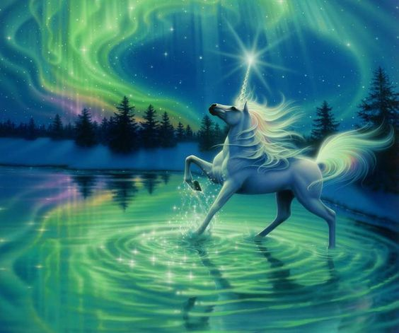 Unicorn and Northern lights divine magic