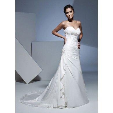 A-line dropped waist taffeta wedding dress