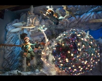 Each scene offered a unique perspective of the tree, including from underneath, above and inside a tree trunk. Here, a spinning tree is decorated by fairies in an underwater Christmas Festival.View Image Details