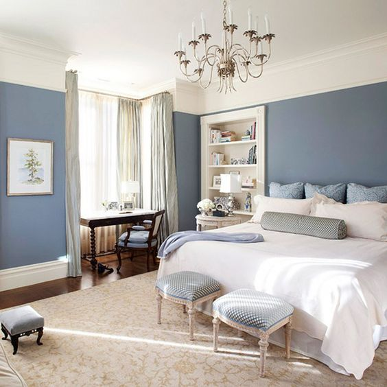 interior design white walls - Blue bedrooms, Blue bedding sets and Blue bedroom walls on Pinterest