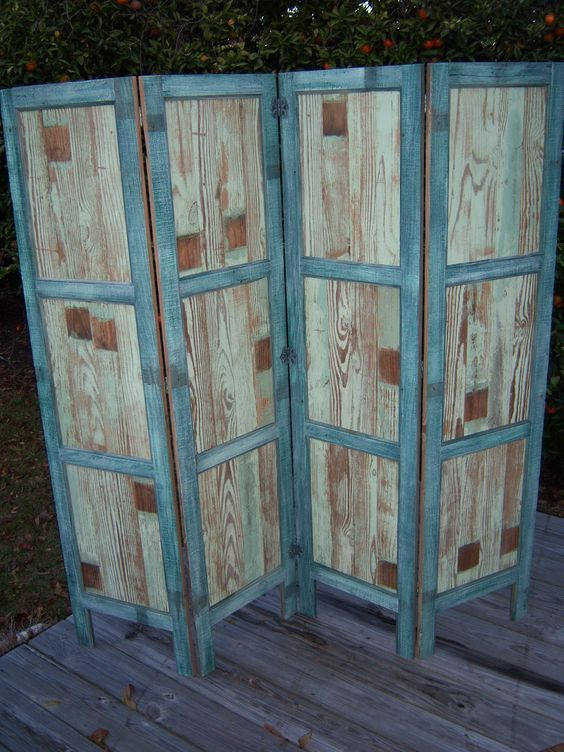 Reclaimed wood room divider privacy screen rustic