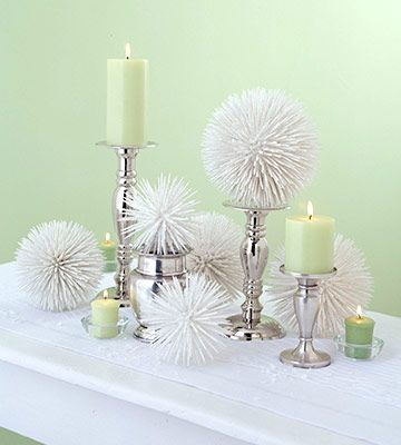 I love these - toothpicks in plastic spheres spray painted white and covered with spray-on snow!!