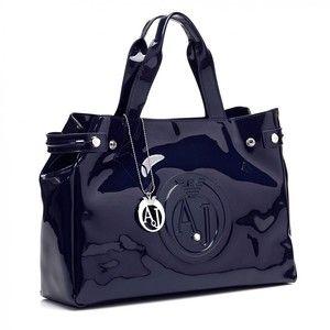 Armani Jeans Bag Classic Navy Blue Patent Shopper Hand Bag
