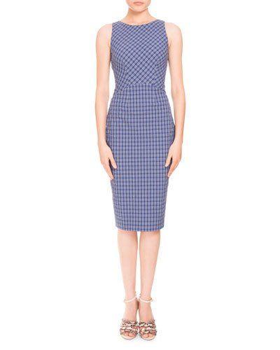 B3G15 Altuzarra Sleeveless Seersucker Cross-Back Dress, Blue Pattern