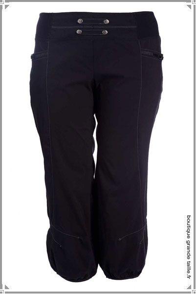 pantalon ample jambes bouffantes et taille lastique dans une toile paisse pour femme ronde. Black Bedroom Furniture Sets. Home Design Ideas