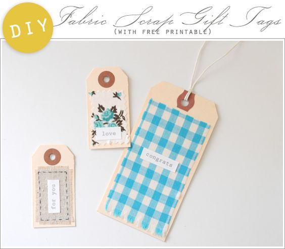DIY: Pretty Fabric Scrap Gift Tags - Home - Creature Comforts - daily inspiration, style, diy projects + freebies