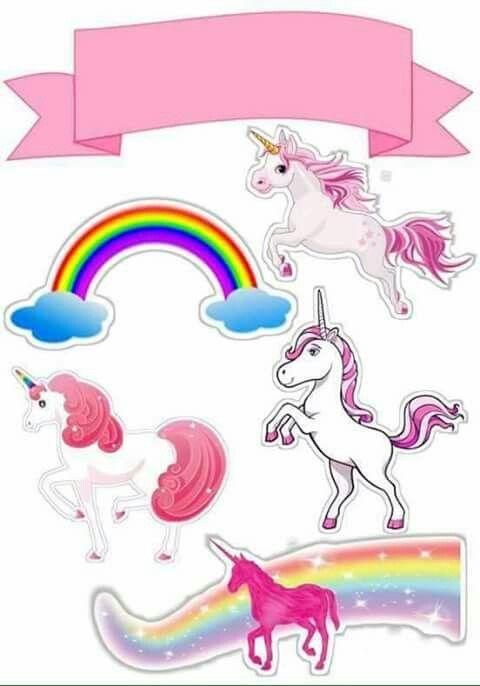 Melhores Modelos De Topo De Bolo De Papel Do Unicornio Para