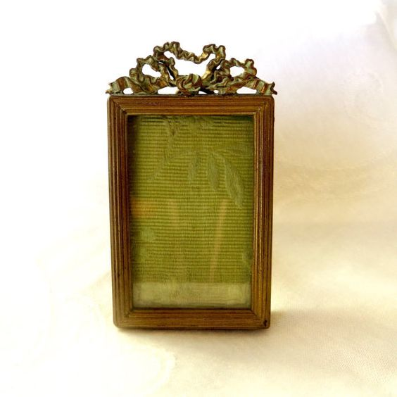 Antique French Ormolu Picture Frame Petite by VintageVogueTreasure