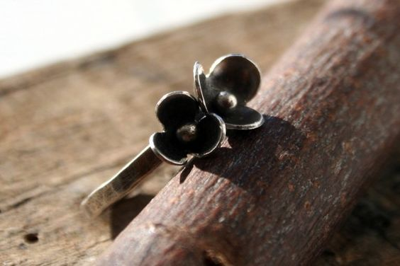 Pair of Pretty Silver Buttercups Ring by rarebirdcreations on Etsy, $45.00