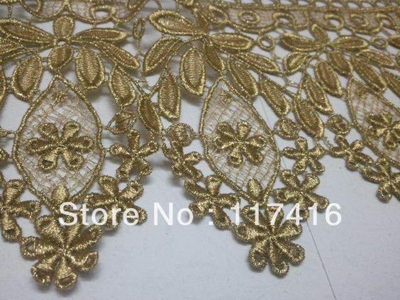 12cm ouro acessórios do vestuário bordado trim renda algodão U$ 75,00