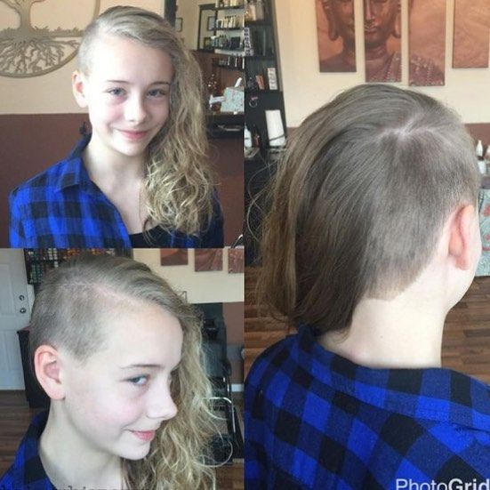 Little girl have a sidecut baldgirl headshave undercut