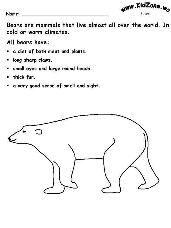 Bear theme worksheets...kidzone | November | Pinterest | 3 bears ...