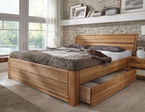 Bett aus Eiche Balken Heavy Sleep Pickupmöbelde Wohnen