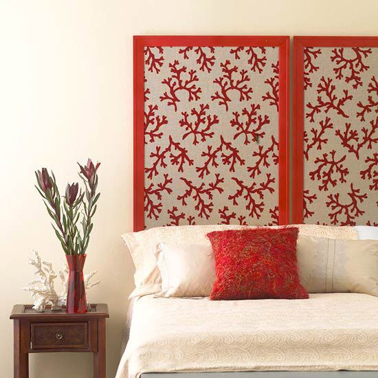D.I.Y. Headboard...fabric and two poster frames - stunning!