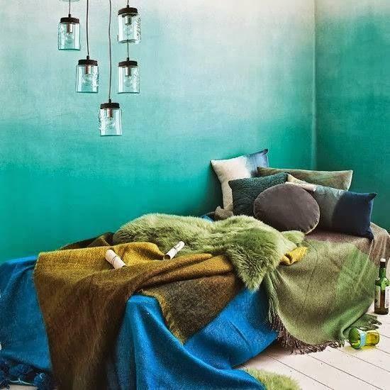 Ombre Walls. Türkis, Apricottöne oder Blau.
