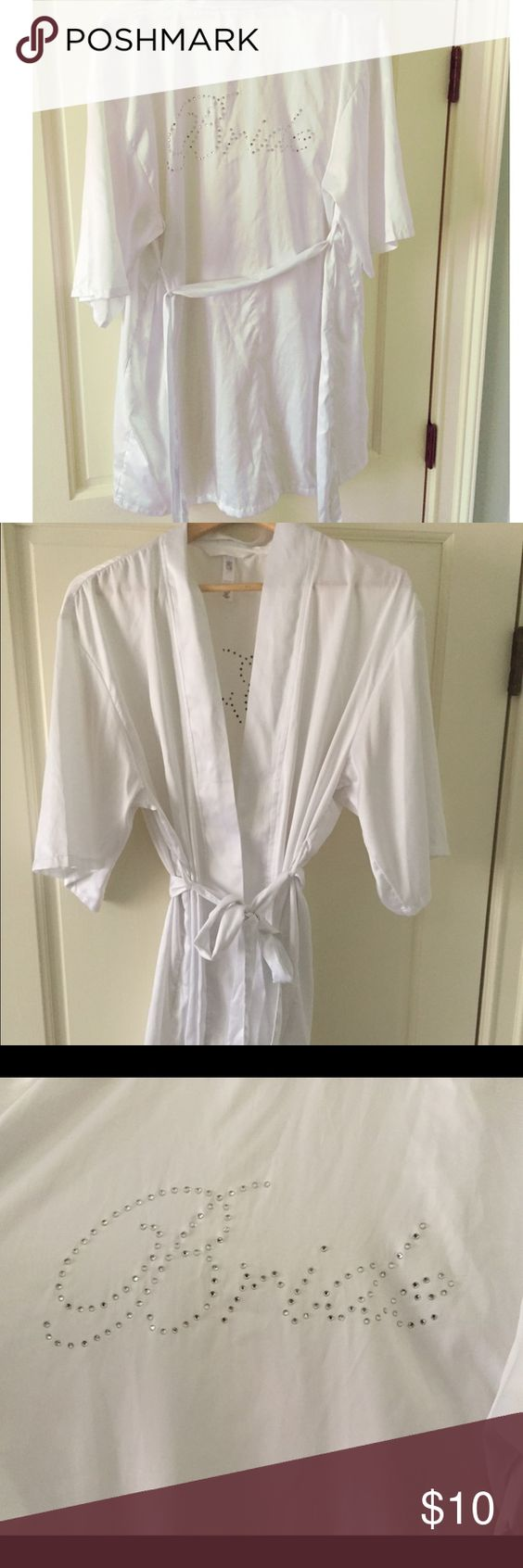 "Bride robe with blinged out ""Bride"" Hits above knees, soft silky robe, perfect for getting ready on any bride's big day! Also perfect for bachelorette weekend! Worn once while getting ready before wedding. Gilligan & O'Malley Intimates & Sleepwear Robes"