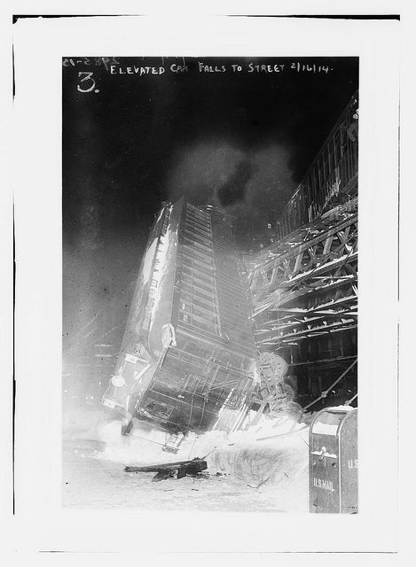 "NYT of Feb 17, 1914  reports, ""A car was hurled from the elevated structure at Eighth Avenue and 138th Street at 7:30 o'clock last night. It swung in mid-air, suspended by the coupling, which attached it to the five other cars of the train. In his seat in the forward end was the motorman, John H. Becker of 338 Dill Place, Evergreen, Long Island, and a snow pile saved him."" The train was empty apart from the driver."