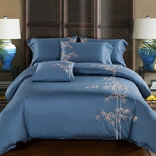 Egyptian Cotton Embroidery Luxury Oriental Bedding Set King Queen