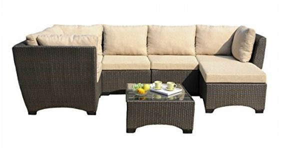 W Unlimited 7-piece Outdoor Patio Furniture Set With Coffee Table And Cushions Infinity Collection, Black Wicker