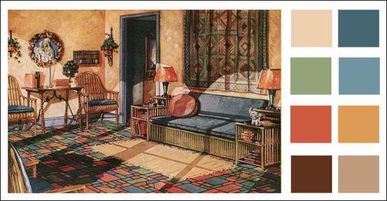 Southwest paint colors color scheme 1928 armstrong linoleum spanish eclectic colors for Southwest colors for living room