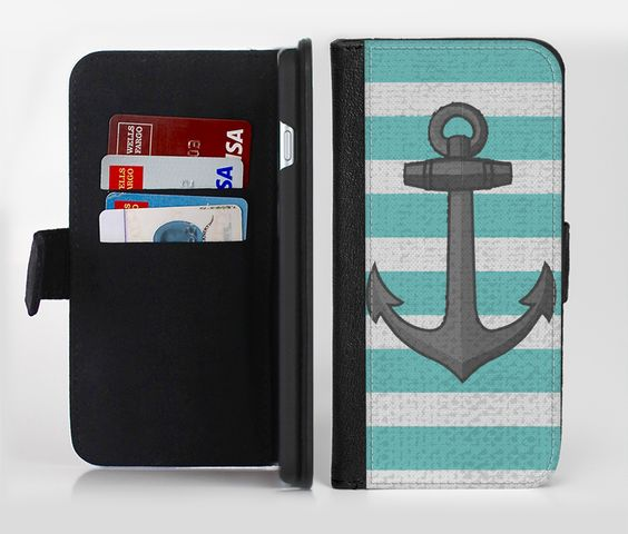 The Teal Stripes with Gray Nautical Anchor Ink-Fuzed Leather Folding Wallet Credit-Card Case for the Apple iPhone 6/6s, 6/6s Plus, 5/5s and 5c from DesignSkinz