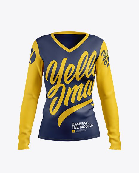 Download Women S Baseball T Shirt With Long Sleeves Mockup Front View In Apparel Mockups On Yellow Images Object Mockups Clothing Mockup Shirt Mockup Womens Baseball T Shirts