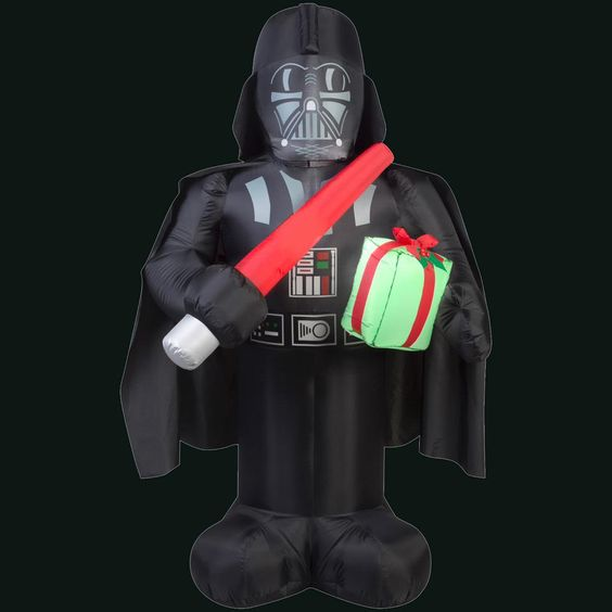 41.34 in. L x 27.56 in. W x 72.05 in. H Inflatable Darth Vader with Light Saber and Present