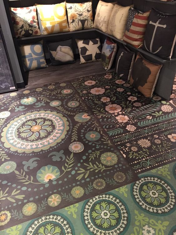 Vinyls rugs and cloths on pinterest for Painted vinyl floor cloth