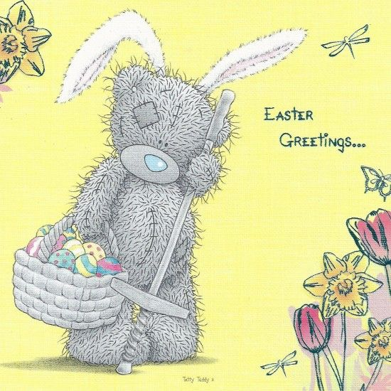 Tatty Teddy in 7 Beautiful Happy Easter Greeting Cards: