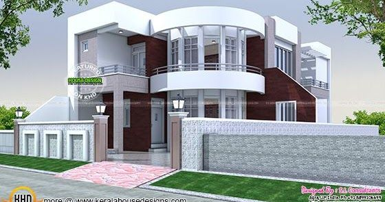 40x75 Cute Modern House Plan Bungalow House Design Kerala House Design Model House Plan Modern house plan with round design element