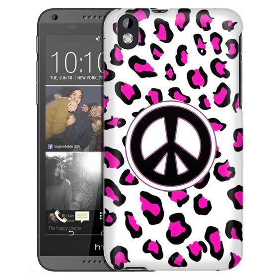 HTC Desire 816 Peace Pink Leopard Slim Case