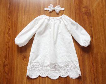 Largo crema bebé blanco niña bautismo vestido vestido por lonymaids