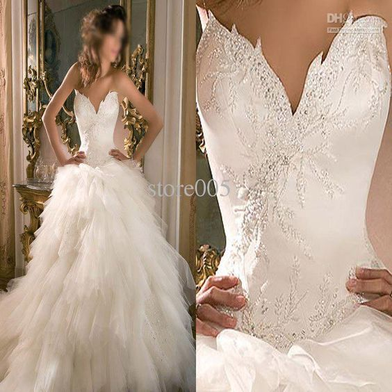Wholesale Hot sell unique design ball gown bridal wedding dresses tulle sweep train, Free shipping, $170.24-192.64/Piece | DHgate